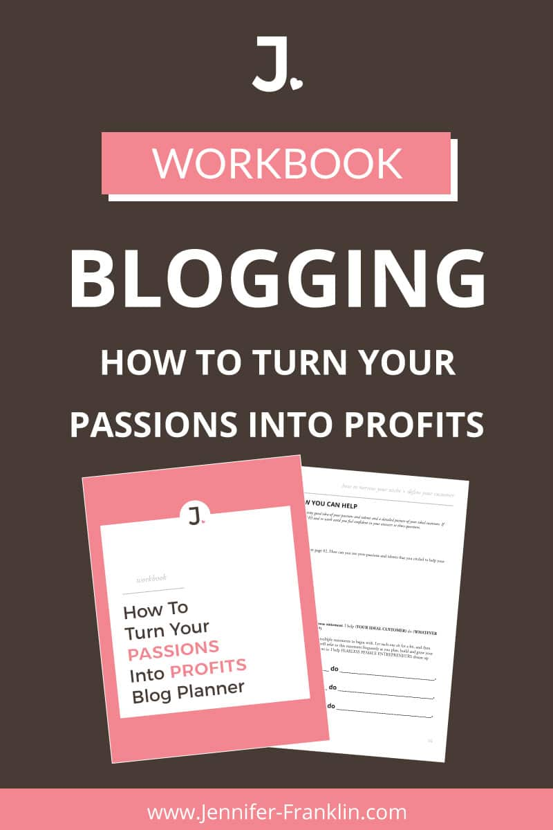 Work From Home: Start a profitable blog today! Download the FREE blog planner workbook and learn how to turn your Passions Into Profits at Jennifer-Franklin.com.