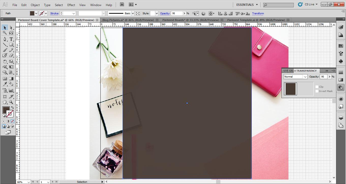 pinterest board cover image adobe illustrator color square