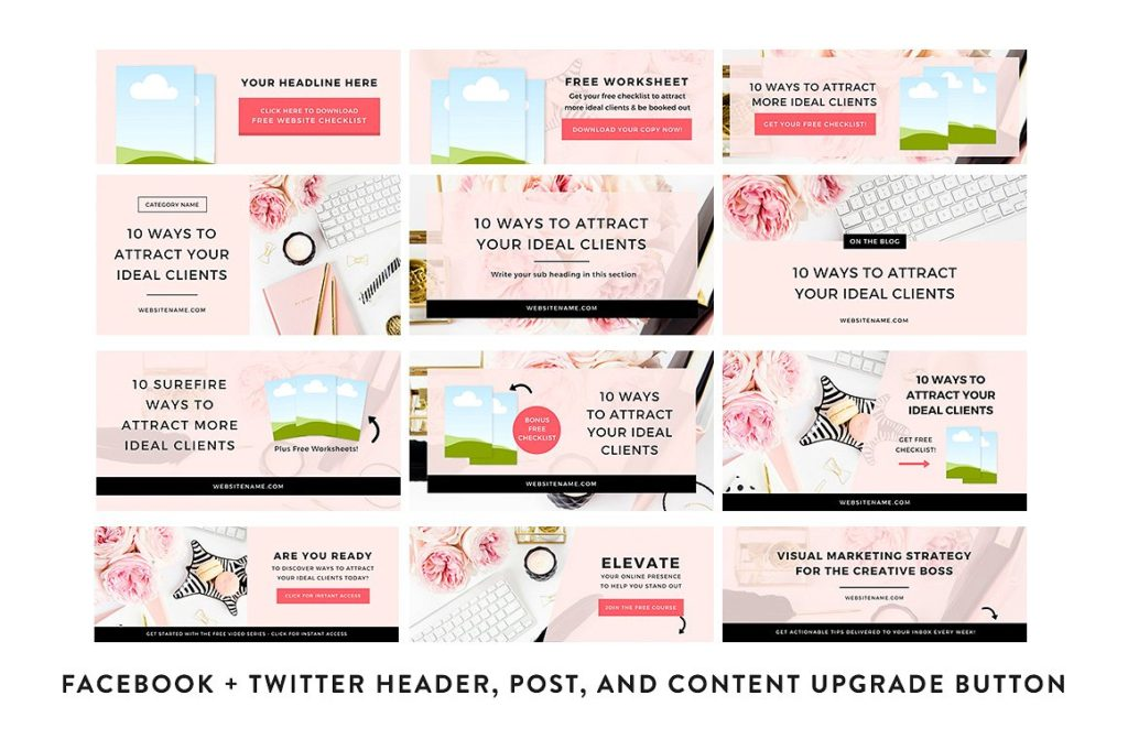 Canva social media graphics: Instagram, Pinterest, Blog, Faceook by Bluchic. Learn more at Jennifer-Franklin.com.