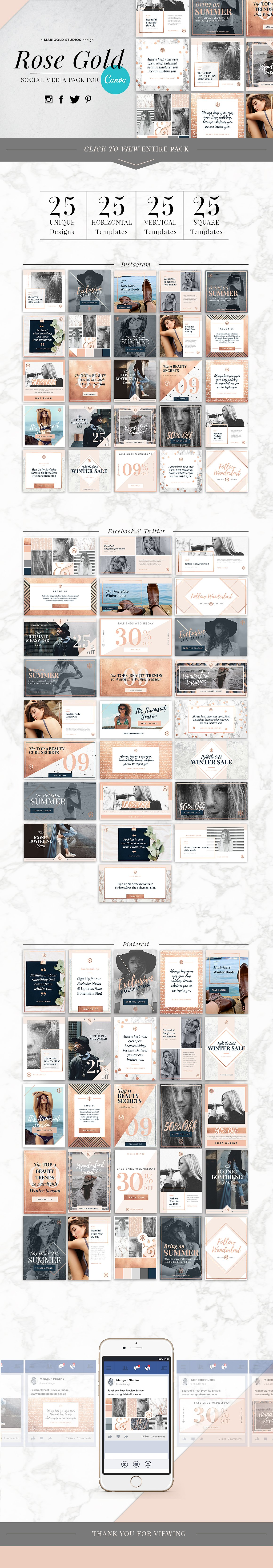 Social Media Template Canva Rose Gold for Pinterest, Instagram, Facebook, Blog.