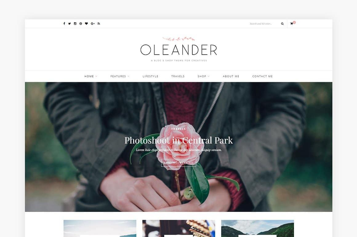 A blog shop WordPress theme: Oleander, is sharp and modern. Features a full-width slider and promo boxes to show off your product images.Shop WordPress themes at Jennifer-Franklin.com.