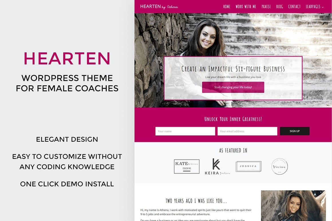 Business Coach WordPress Theme: Hearten is perfect for the female coaching business. Shop at Jennifer-Franklin.com.