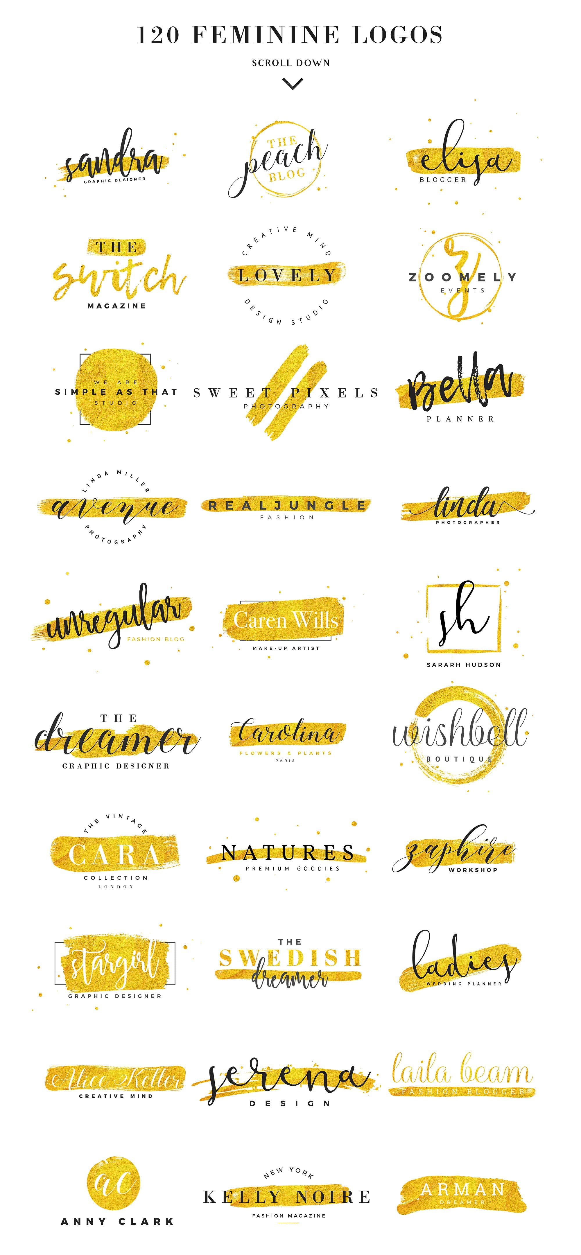 Feminine Branding Logos by David Bassu is a beautiful collection of premium blog style feminine logo templates. Includes 120 feminine modern logos you can customize using Photoshop & Illustrator. Bonus: 25 high quality textures that will really spice up your logo design. Shop online at Jennifer-Franklin.com/shop.