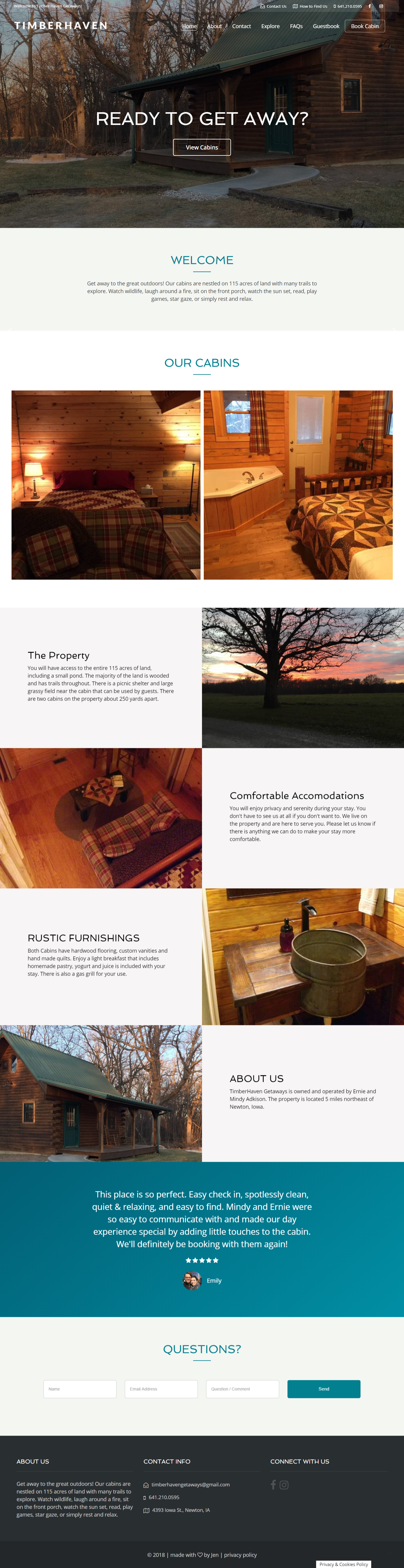 WordPress Website Design | Cabin Rental Website | Timber Haven Getaways | Jennifer-Franklin.com
