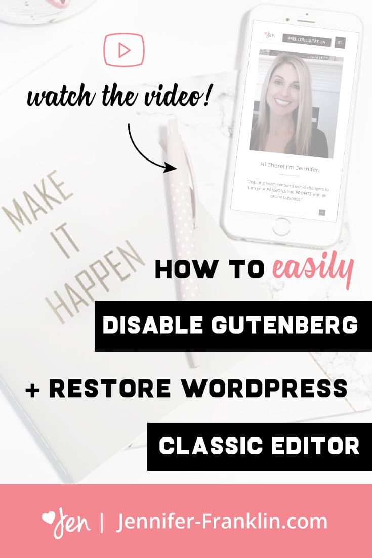 HOW TO DISABLE GUTENBERG WORDPRESS EDITOR + GET THE CLASSIC EDITOR BACK --></noscript> Have you logged into your WordPress website and noticed that the way you edit your pages and posts has changed? If so, don't freak out! WordPress rolled out a new block editor in the update to 5.0+. In this video I show you how to easily get your website editor restored. #wordpress #wordpresswebsite #wordpressplugin #websitetips #wordpresstips