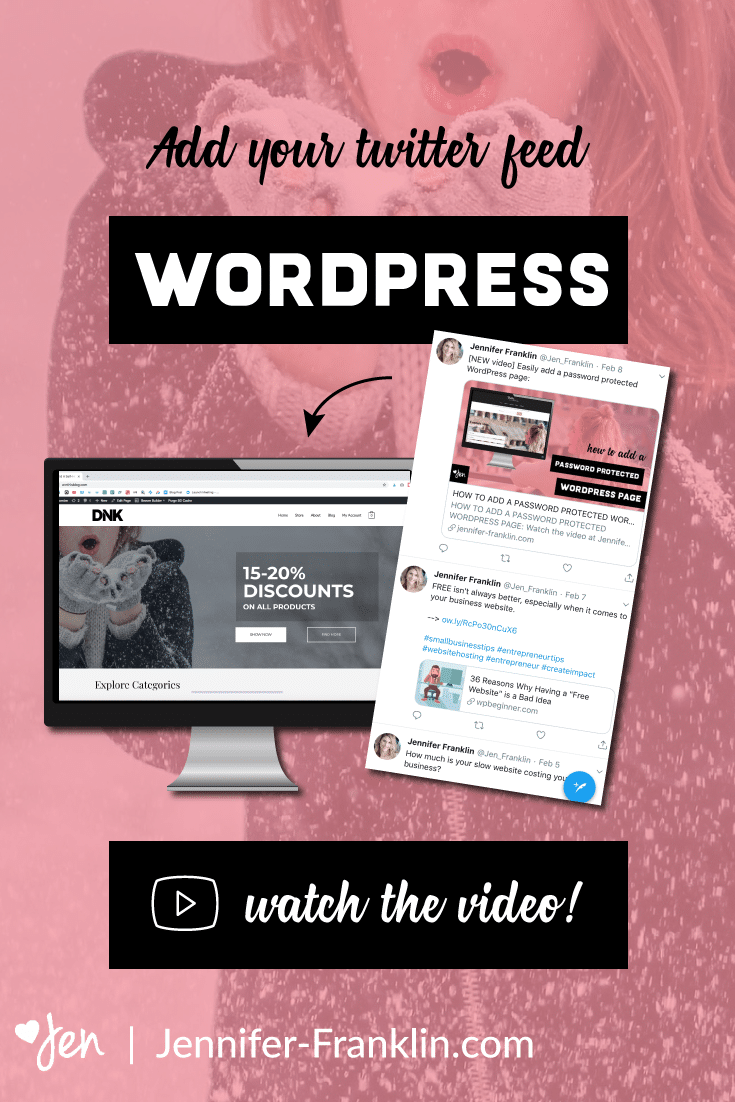 How to add a twitter feed to your website | Twitter embed code generator | embed Twitter Feed WordPress | Jennifer-Franklin.com